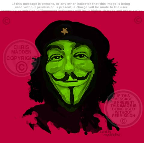 che guervara in guy fawkes mask