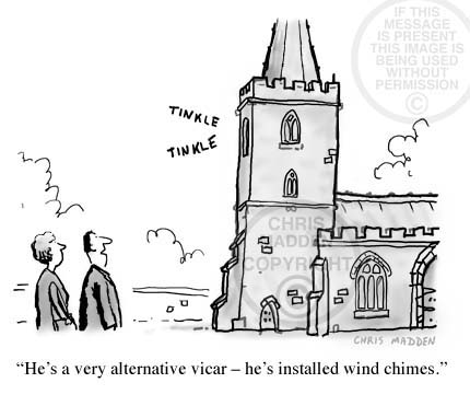 Wind chimes cartoon. A church with wind chimes in the steeple instead of bells