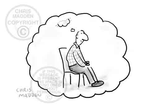 Philosophy cartoon. I think therefore I am