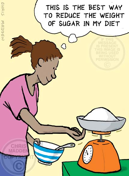 Diet cartoon. A woman pushing up on the bottom of food weighing scales to pretend to reduce the weight of unhealthy ingredients