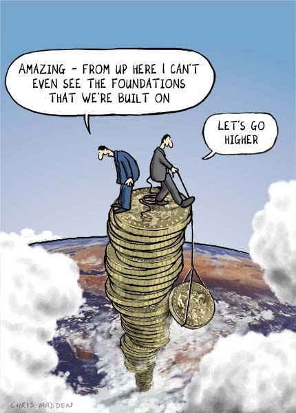Credit crisis illustration. Pile of coins