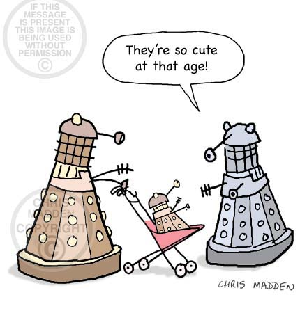 Dalek cartoons. Cute baby dalek in a pushchair