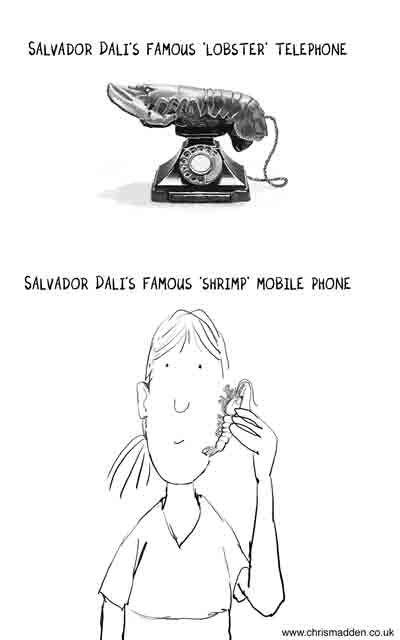 Salvador Dali cartoon - lobster cell phone