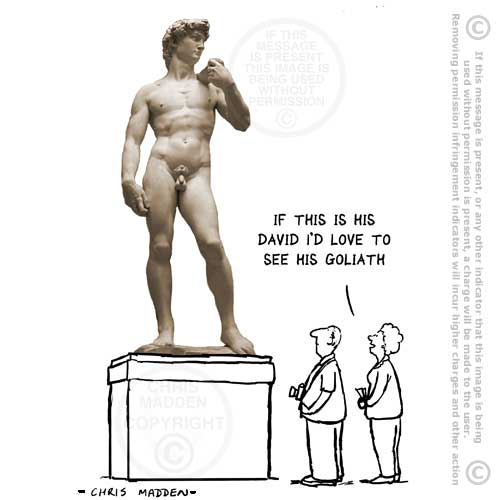 michelangelo cartoon - david and goliath