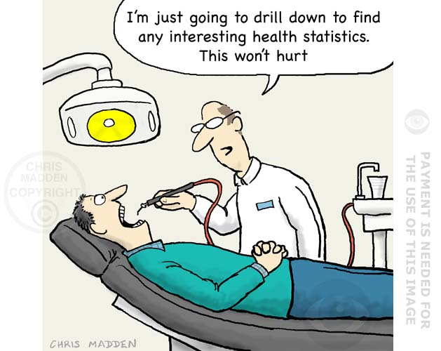 dentist drilling down to statistics cartoon