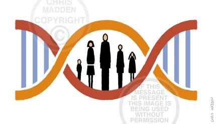 DNA cartoon - double helix with a family as rungs