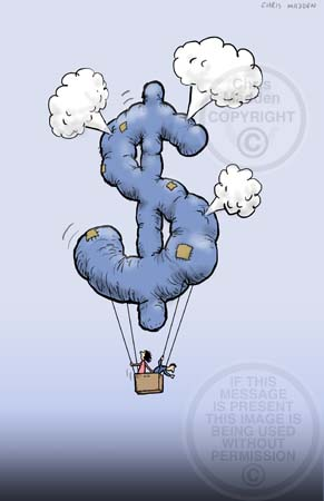 Economic crisis cartoon. The US dollar sign as a leaking balloon