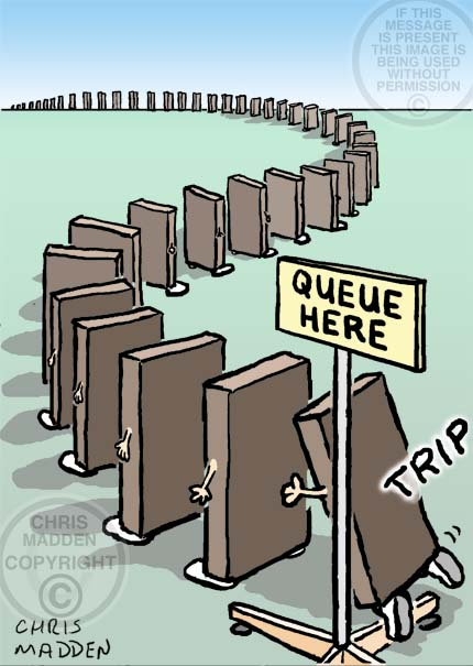 Domino effect cartoon. A domino at the back of a queue of dominos trips up, about to make the rest fall