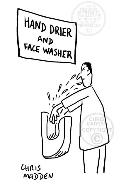 Cartoon showing an electric hand drier splashing the user's face