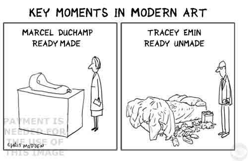 Cartoon. Tracey Emin bed and Duchamp ready-made