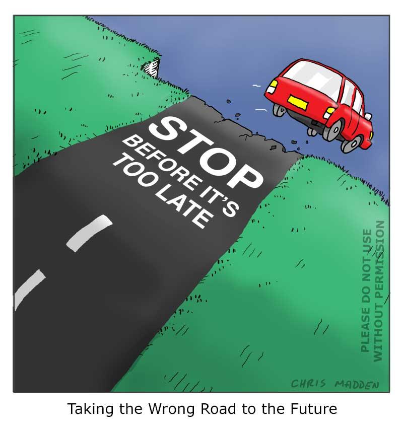 Environmental cartoon: The human race  driving itself over the precipice