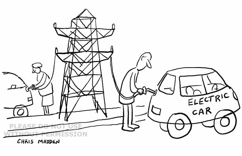 electric car cartoon