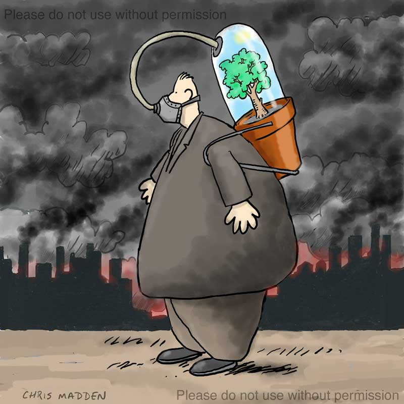 pollution cartoon