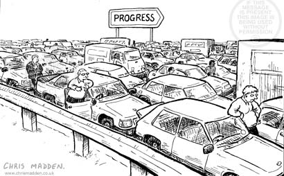 transport cartoon - traffic at a standstill