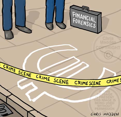 Euro-crisis illustration. Crime scene chalk outline