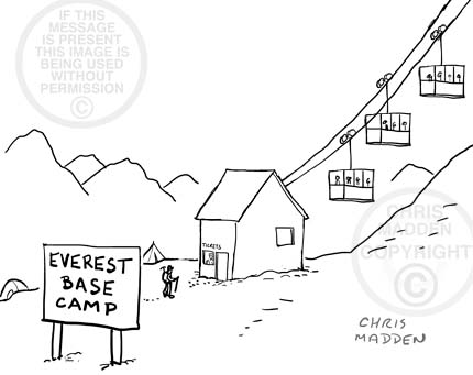 Cartoon showing a cable car to the summit of Mount Everest