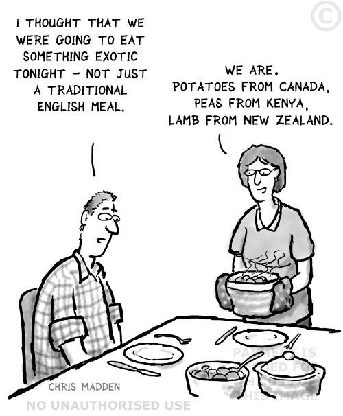 cartoon - food imported from round the world