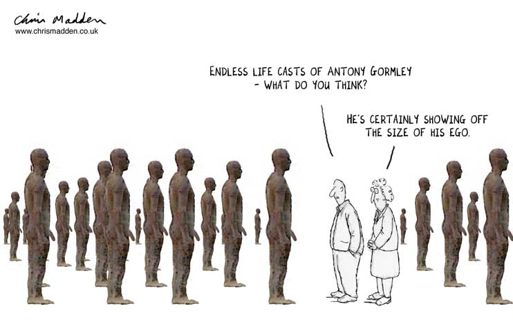 Antony Gormley cartoon - psychology of the self portrait in art