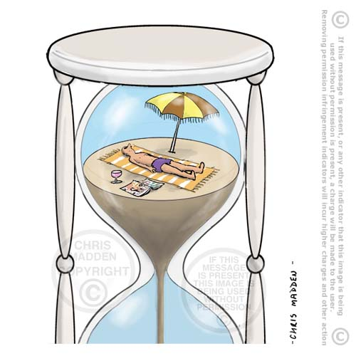 sunbathing in hourglass cartoon