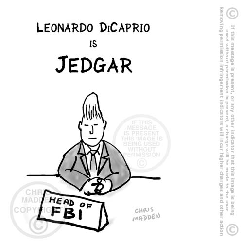Cartoon. J Edgar film renamed Jedgar to resemble Jedward pop duo name