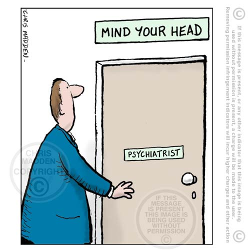 Cartoon -mind your head - therapist