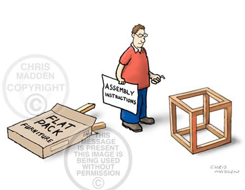 Cartoon. Optical illusion constructing flat pack furniture