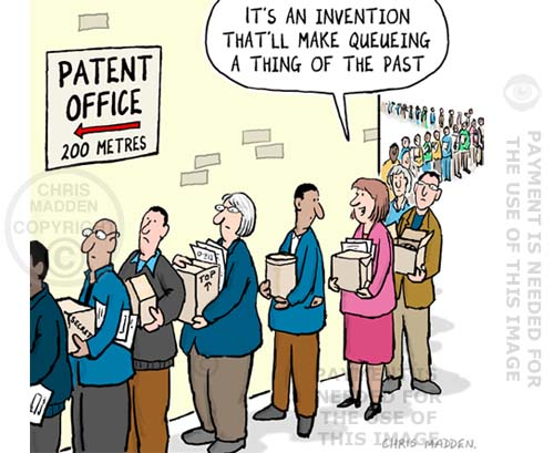 patent queue cartoon