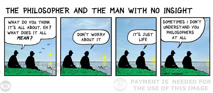 Philosophy cartoon - men talking about the meaning of life