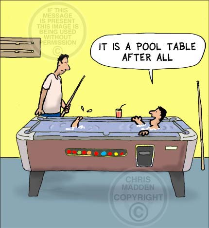 Pool Table Cartoon. Diving into a pool table
