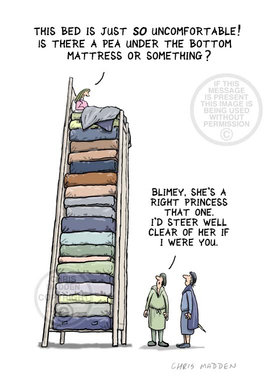 Fairy tale illustration. The princess and the pea