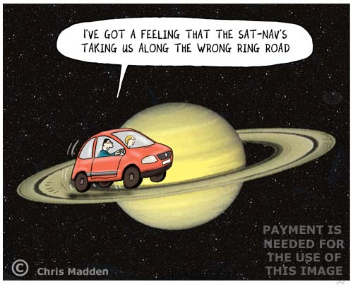sat nav to Saturn's rings - cartoon
