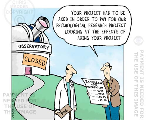 Scientific research project budgets – cartoon
