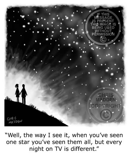 Philosophy cartoon. Someone staring at the night sky and finding it boring when compared to television