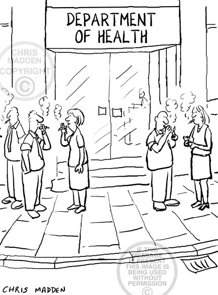Smoking ban cartoon. Smokers standing outside office block in street.