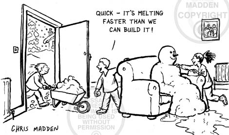 Christmas cartoon. Children building a snowman on the sofa in a house. The snowman is melting in the heat, but the children keep building it