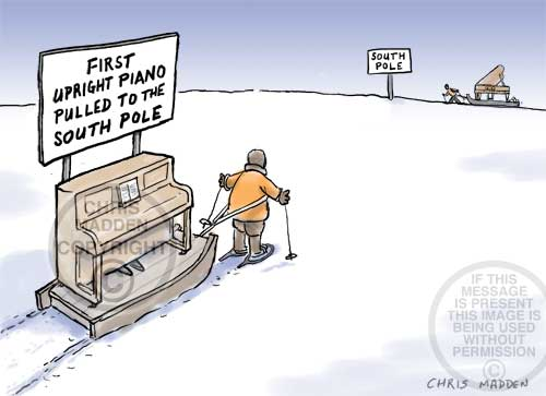 The race to pull the first piano to the South Pole - cartoon