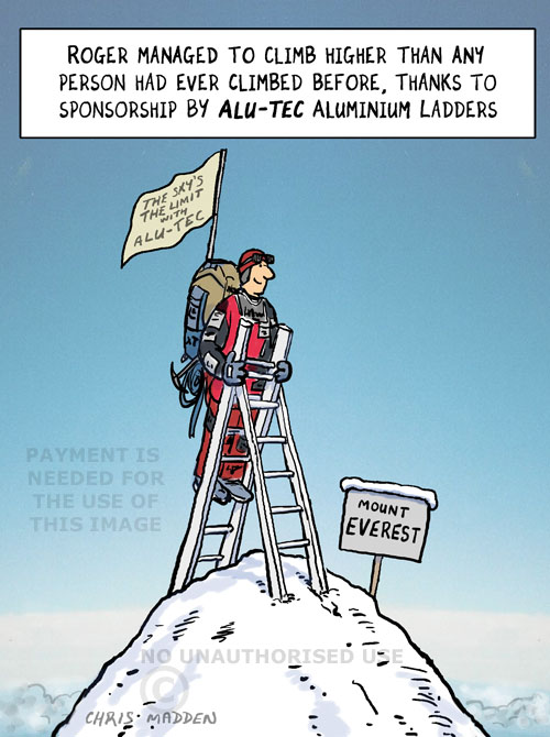 Corporate sponsorship cartoon. Climbing Mount Everest sponsored by a ladder company