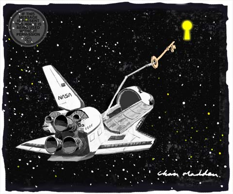 Space shuttle cartoon. The space shuttle deploying scientific instruments to unlock the secrets of the universe