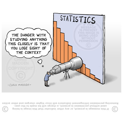 Cartoon. Studying statistics through telescope
