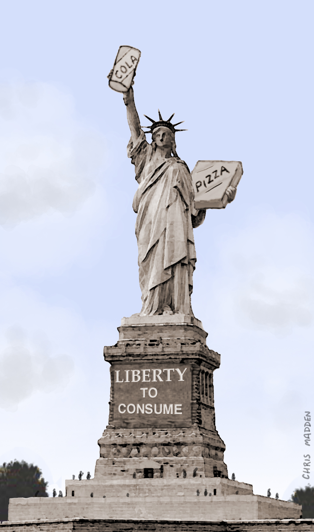 Consumerism cartoon: the Statue of Liberty as a symbol of the consumer society