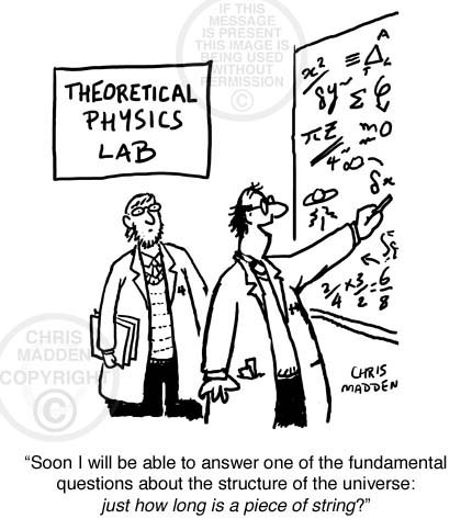 String Theory Cartoon. A scientist trying to find the answer to the question - How long is a piece of string?