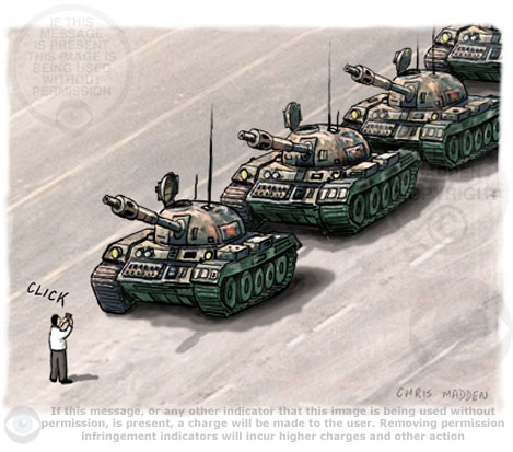 tiananmen square tanks protester cartoon