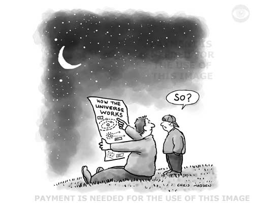cartoon about apathy about knowledge  about the wonders of the universe