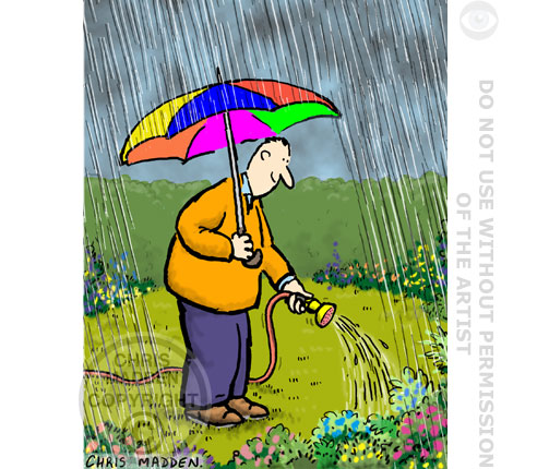 watering garden in the rain cartoon