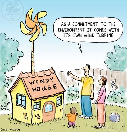 Wind turbine cartoon. A wendy house fitted with a wind turbine