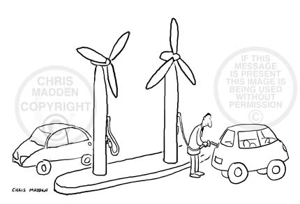 Environment cartoon.  Wind-powered cars being refuelled at wind turbines rather than petrol pumps.